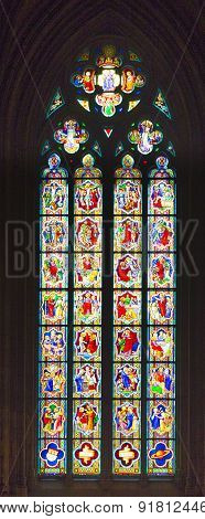 Stained Glass Church Window In Cathedral Of Cologne