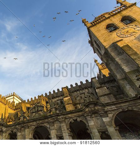 PORTO, PORTUGAL - CIRCA MAY, 2015: The Porto Cathedral (Se do Porto) at Porto Old Town. In 1996, UNESCO recognised Old Town of Porto as a World Heritage Site.