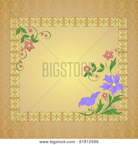 Vector frame with openwork background and flowers.