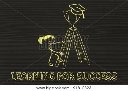 Learn For Success, Girl About To Catch A Trophy With Graduation Cap
