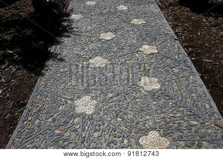 Stone Walkway In A Japanese Garden
