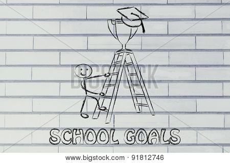 School Goals, Boy About To Catch A Trophy With Graduation Cap