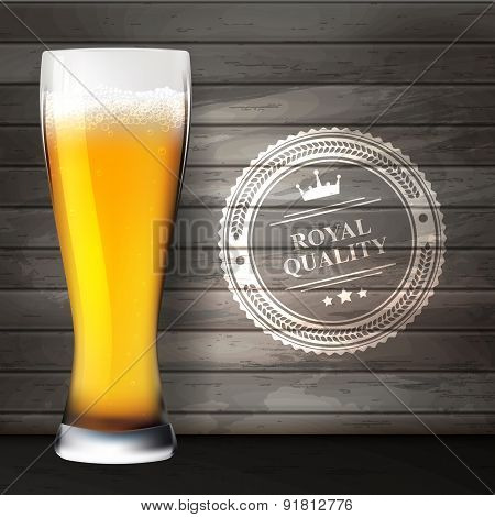 Glass Of Beer On Wooden Surfaces.