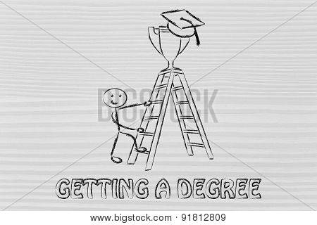 Getting A Degree, Boy About To Catch A Trophy With Graduation Cap