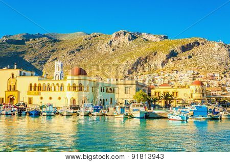 Port and townhall in Pothia on Kalymnos, Greece