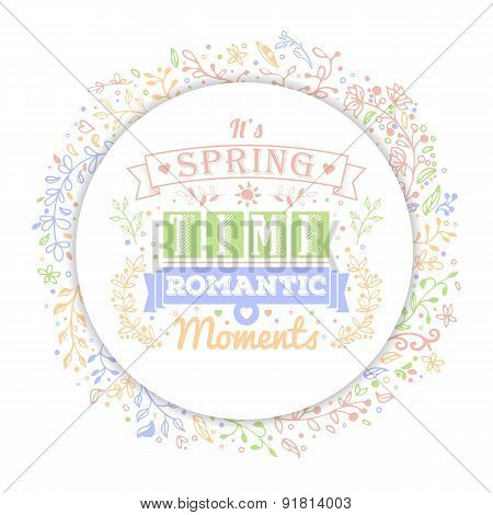 Vintage Typography Spring Lettering And Flower Patterns, Floral Decorations