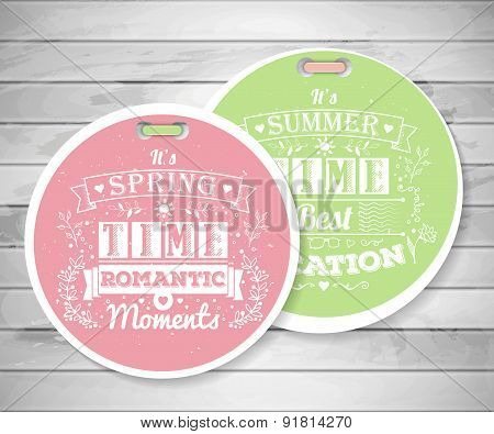 Labels With Vintage Typography Spring Lettering On The Wood Background