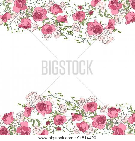 Greeting card with roses, herbs and gipso. For your design, posters,announcements