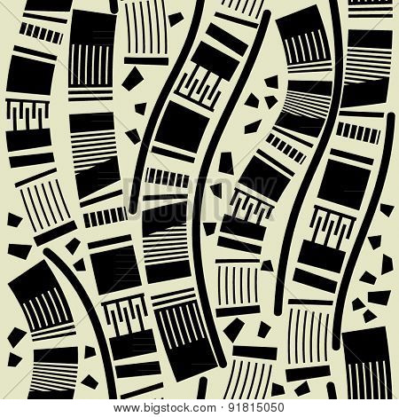 art black graphic geometric seamless pattern, square background with sketched waves ornament in art deco style