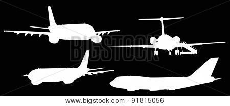 illustration with four airplanes silhouettes isolated on black background