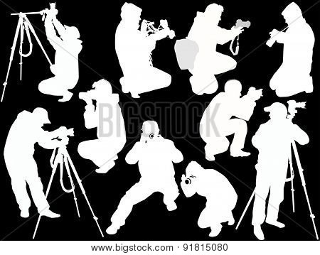 illustration with ten photographers isolated on black background