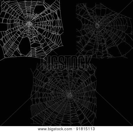 illustration with three spider webs isolated on black background