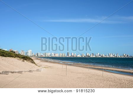 Punta Del Este Beach With Apartment Buildings In Uruguay