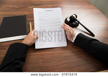 Judge Holding Contract Paper