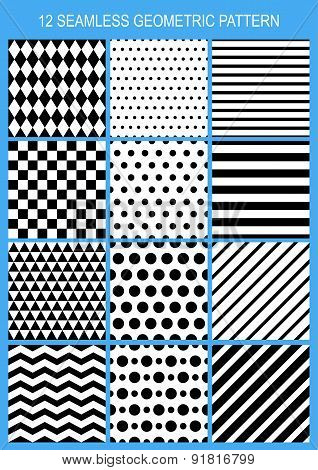 Set Of Vector Seamless Geometric Pattern. Black And White Stripe, Polka Dot, Triangle, Squared Abstr
