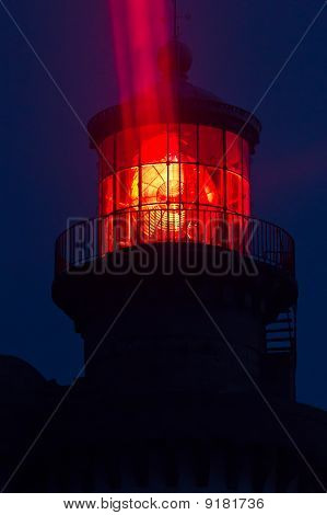 Red Lighthouse Illuminated