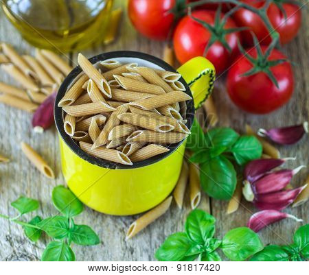 pasta from whole wheat flour. wholemeal pasta