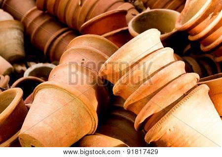 Clay Flower Pots Lying In Stacks