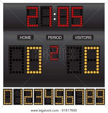 Digital scoreboard. Raster version