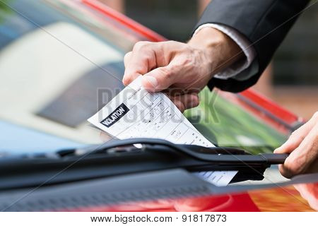 Parking Ticket On Car's Windshield