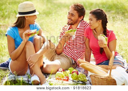Happy friends having picnic in natural environment