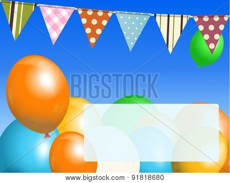 Balloons And Bunting On Blue Sky With Message
