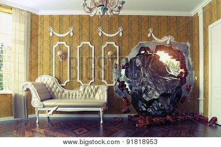 Meteorite enters the room. Photo combination creative concept