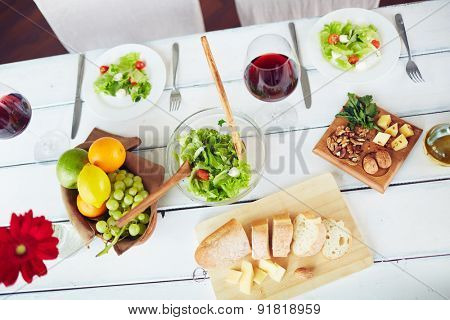 Healthy and fresh food on served table