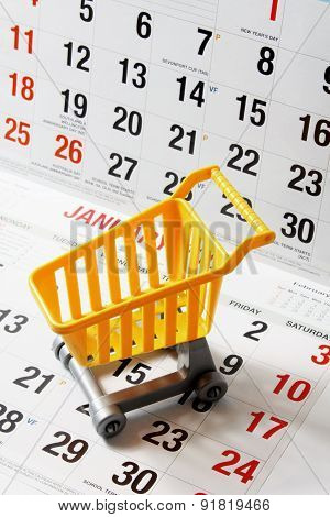 Shopping Trolley On Calendar