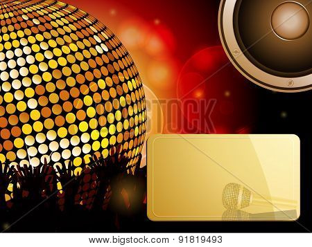 Disco Ball And Crowd With Speaker And Message