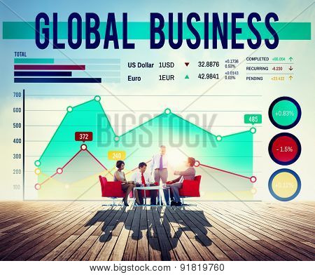 Global Business Graph Growth Success Concept