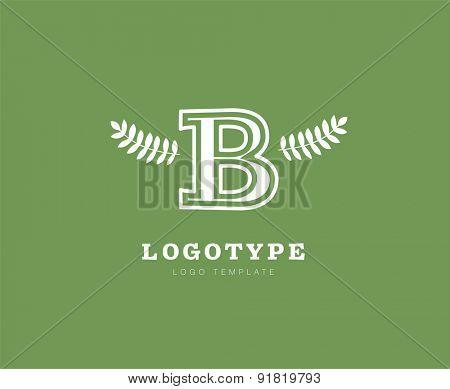 B. Abstract vector logo design elements. Arrows, labels, symbols. Vector illustration