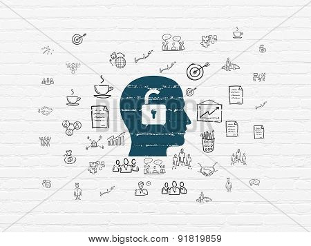 Finance concept: Head With Padlock on wall background