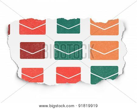 Finance concept: Email icons on Torn Paper background