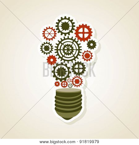 Bulb design over beige background vector illustration