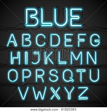 Blue neon glow alphabet with wires. Vector.