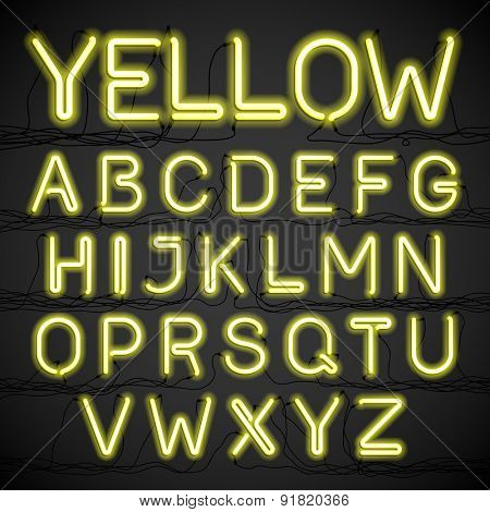 Yellow neon glow alphabet with wires. Vector.