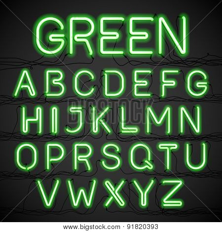 Green neon glow alphabet with wires. Vector.