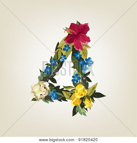 Number 4, Vector Colorful Flower Font For Your Design.