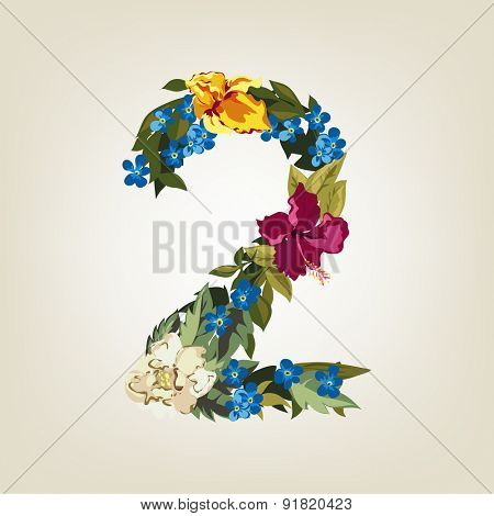 Number 2, Vector Colorful Flower Font For Your Design.