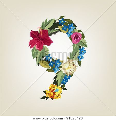 Number 9, Vector Colorful Flower Font For Your Design.