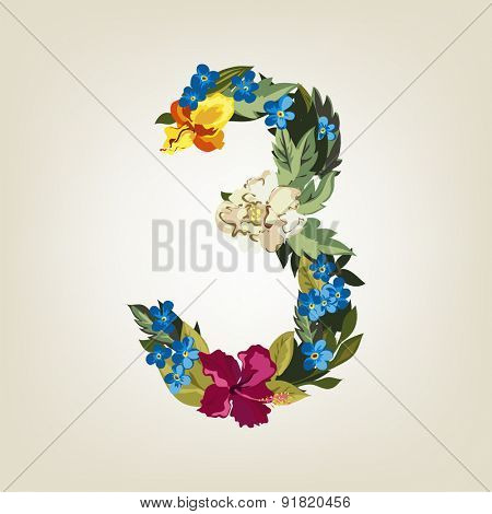Number 3, Vector Colorful Flower Font For Your Design.