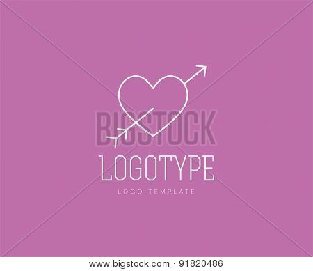 Heart with arrow. Abstract vector logo design elements. Arrows, labels, symbols. Vector illustration