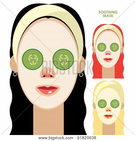 Women With Facial Soothing Mask