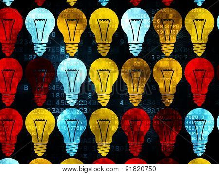 Business concept: Light Bulb icons on Digital background