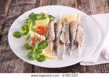 barbecue fish and salad