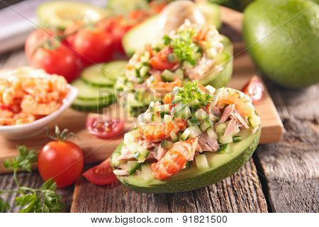 avocado salad and ingredients