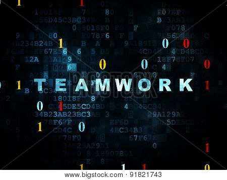 Finance concept: Teamwork on Digital background
