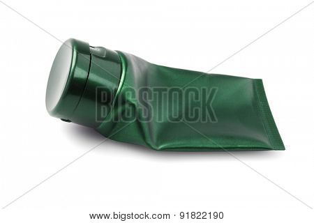 Empty Plastic Cosmetic Tube on White Background