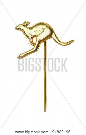 Kangaroo Lapel Pin on White Background